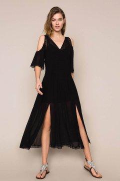 Vestido TWINSET Largo De Georgette Con Bodados Y Encaje 201TT2083