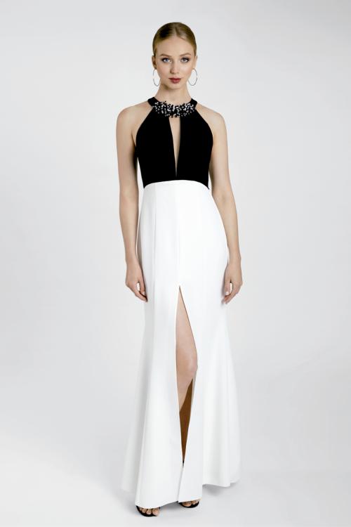 Vestido MARIA LAGO Largo Bicolor MIXICO 1425