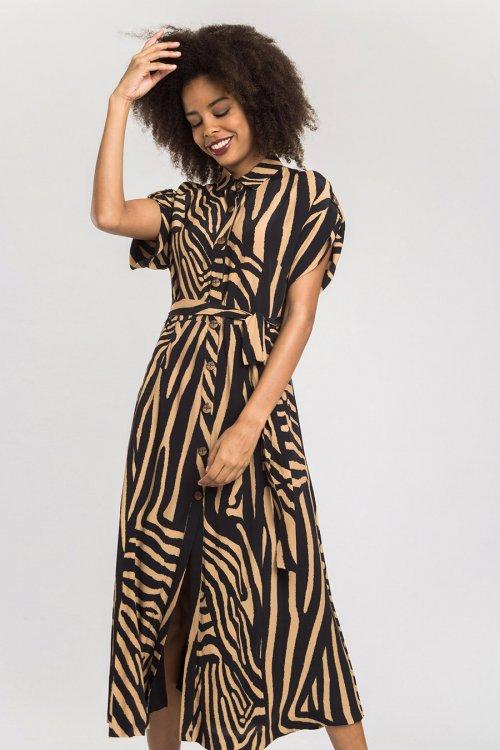 Vestido ALBA CONDE Midi Cebra 2426-428-21