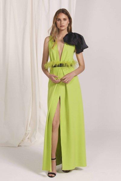 Vestido MASS MATILDE CANO Largo Verde Plumas L541