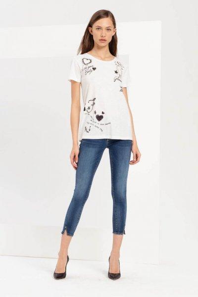 Camiseta FRACOMINA Texto Brillantina FR20SP367