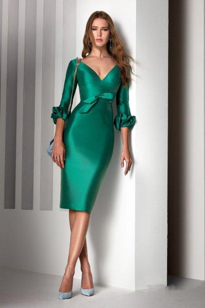 Vestido ESPERANZA GARCIA Corto Mikado Verde E1422