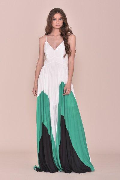 Vestido NURIBEL Largo Plisado Tricolor 14610