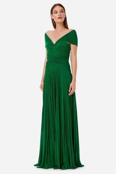 Vestido ELISABETTA FRANCHI Largo Plisado Verde AB17101E2