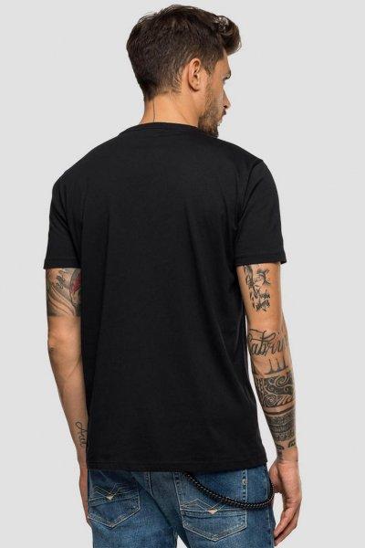 Camiseta Negra REPLAY Con Estampado Colorblock 3015 2660