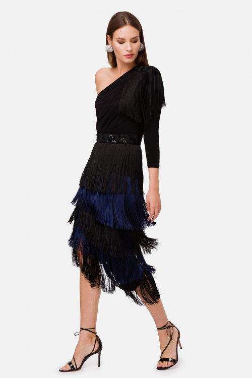 Vestido ELISABETTA FRANCHI Midi Flecos Bicolor AB00902E2