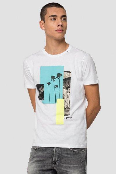 Camiseta REPLAY Blanca Con Estampado Colorblock 3015 2660