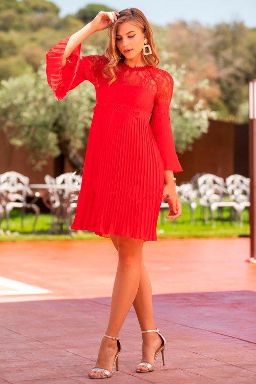 Vestido BETZZIA Corto Plisado Encaje V20413