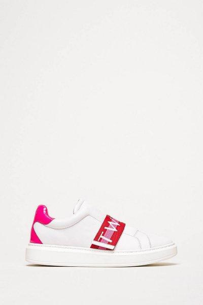 Sneaker TWINSET De Piel Con Banda Logotipo 201TCT064