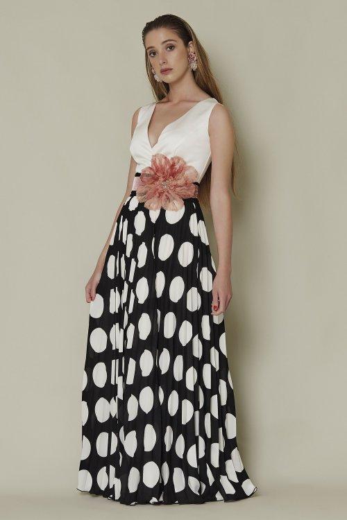 Vestido SARA RUIZ Largo Combinado + Fajín 29004
