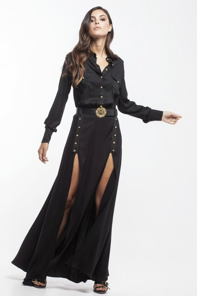 Vestido MASAVI Largo Aberturas Botones Negro 2050