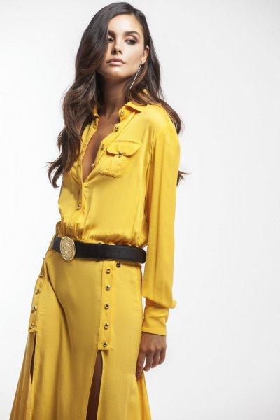 Vestido MASAVI Largo Aberturas Botones Mostaza 2051A