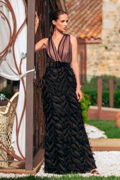 Vestido BETZZIA Largo Falda Mini Flecos V20321