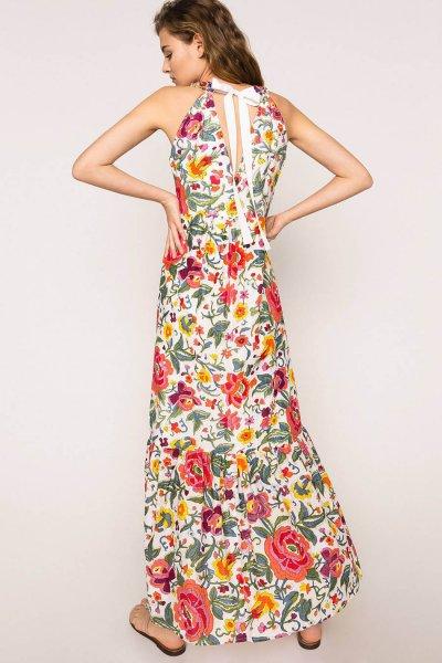 Vestido TWINSET Largo De Estampado Floral Con Bordado 201TT2252