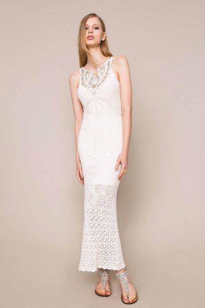 Vestido TWINSET Largo Con Detalles De Crochet Y Bordados 201TT3150