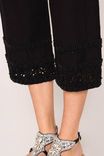Pantalón TWINSET Cropped De Lino Mixto Con Bordados 201TT2273