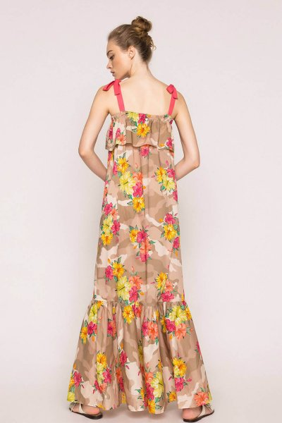 Vestido TWINSET Largo Con Estampado De Camuflaje Y Flores 201MT2380