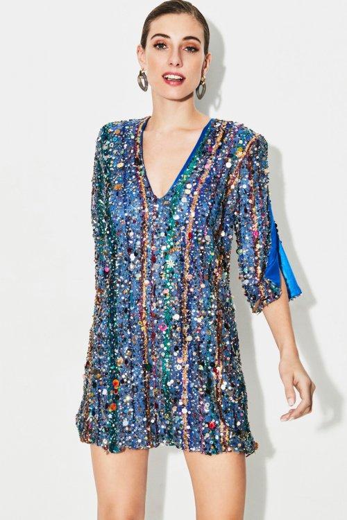 Vestido TETE BY ODETTE Blue Sequins