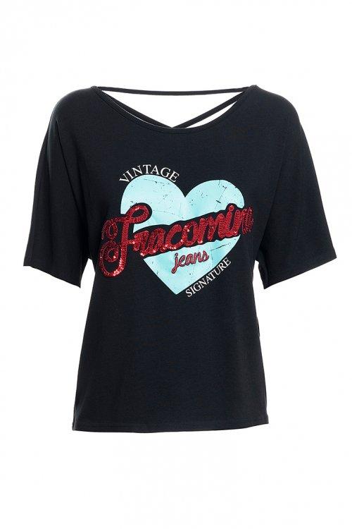 Camiseta FRACOMINA Negra Vintage FR20SP304