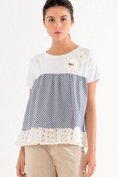 Camiseta FRACOMINA Combinada Estampado Rayas FR20SM333