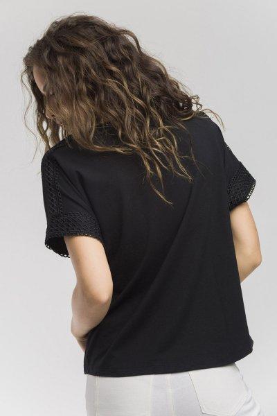 Camiseta ALBA CONDE Negra Strass 1809-200-20