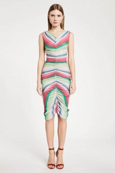 Vestido DENNY ROSE Drapeado Multicolor 011DD10043