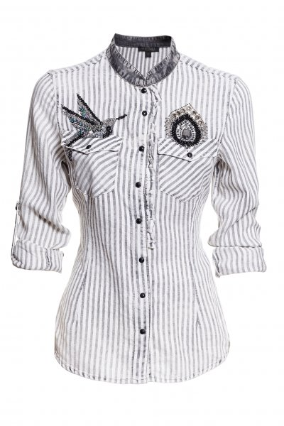 Camisa FRACOMINA En Blanco Y Negro Pedrería FR20SM119