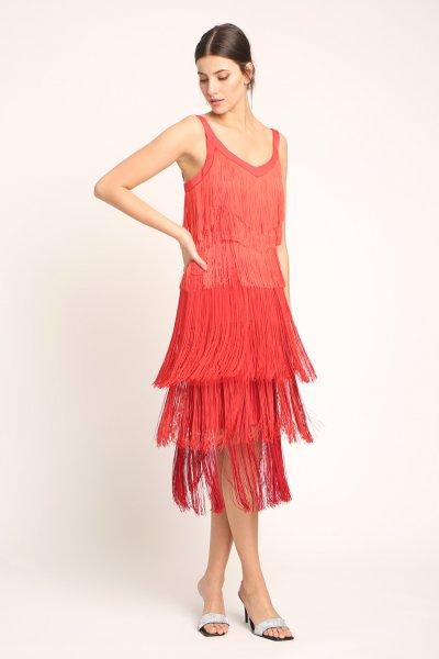 Vestido ALBA CONDE FIESTA Flecos Degradado 3420-743-55
