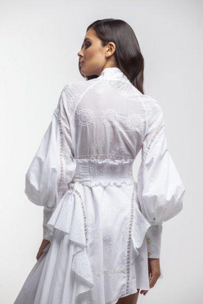 Vestido MASAVI Asimétrico Batista Blanco 2048