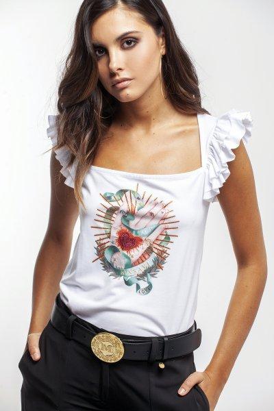 Camiseta MASAVI Volantes Manos Blanca 2055