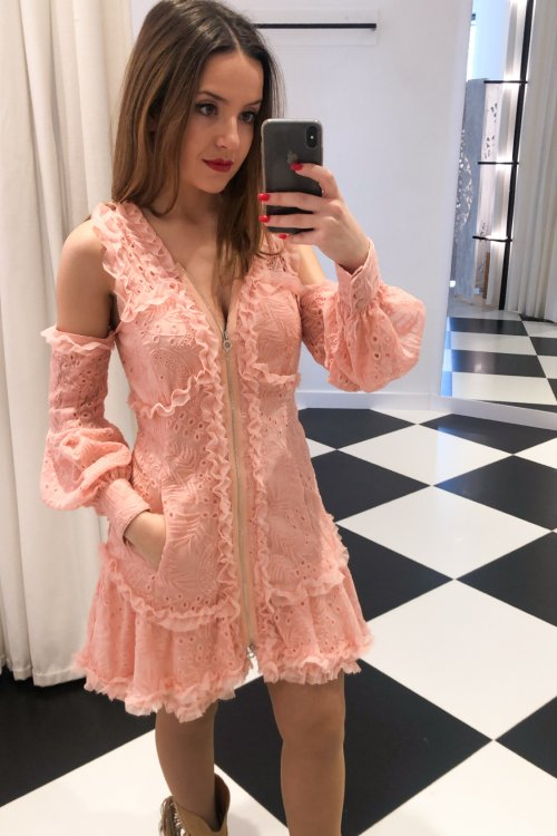 Vestido HIGHLY PREPPY Bambula Bordado Rosa 7768