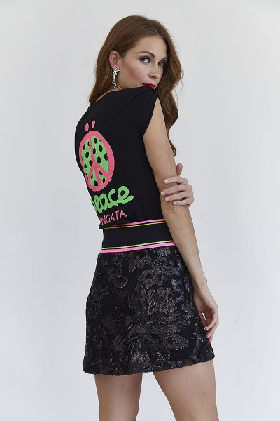 Mini Falda MANGATA Negra Elástico Flúor 2001-0420-160