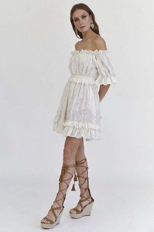 Vestido MANGATA Bordado Beige 2001-0310-031
