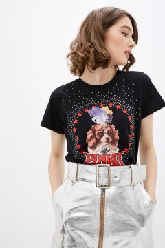 Camiseta PINKO Negra Perro Estrellas 1G14X4 Y5B7