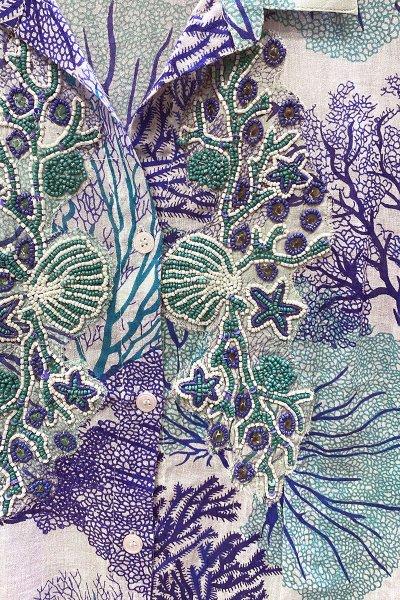 Vestido ANTICA SARTORIA Camisero Print Corales 2020C319
