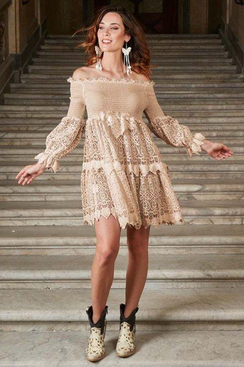 Vestido ANTICA SARTORIA Engomado Encaje 2020J140