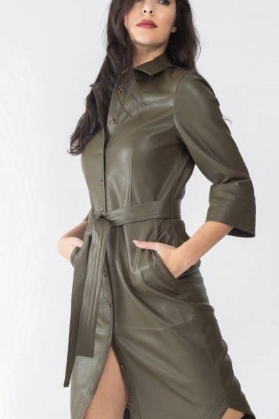 Vestido ALBA CONDE Camisero Ecopiel Kaki 5411-122-24