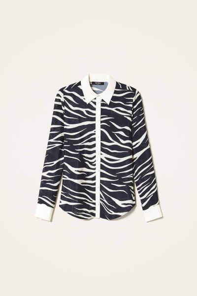 Camisa TWINSET De Crespón De China Animal Print 202MP2431