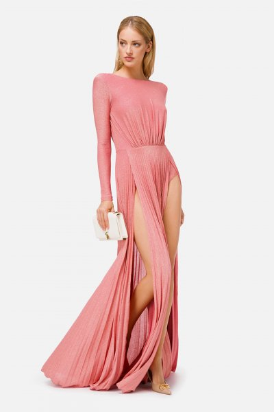 Vestido ELISABETTA FRANCHI Largo Plisado Rosa AB06106E2