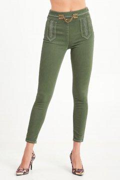 Jeans ELISABETTA FRANCHI Verde Pespuntes Cintura Logo PJ72I06E2