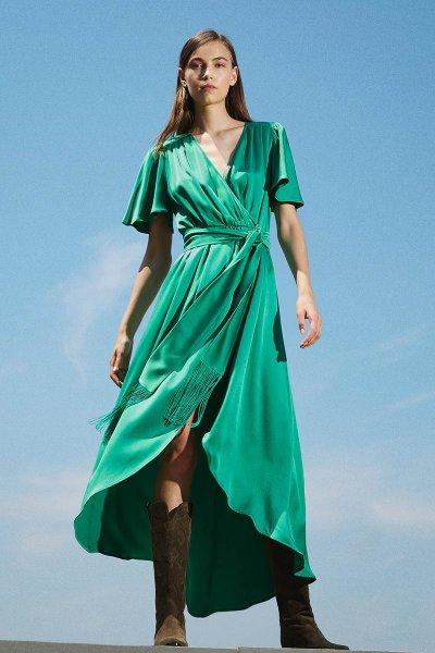 Vestido TWINSET Largo De Raso Con Drapeado 202TP2620