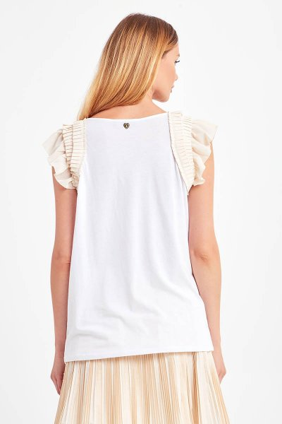 Camiseta TWINSET Volantes Strass 202MP2382