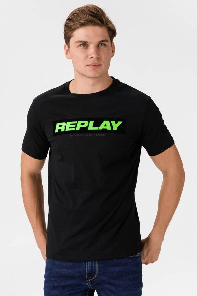 Camiseta REPLAY Logo Flúor M3196 22980P