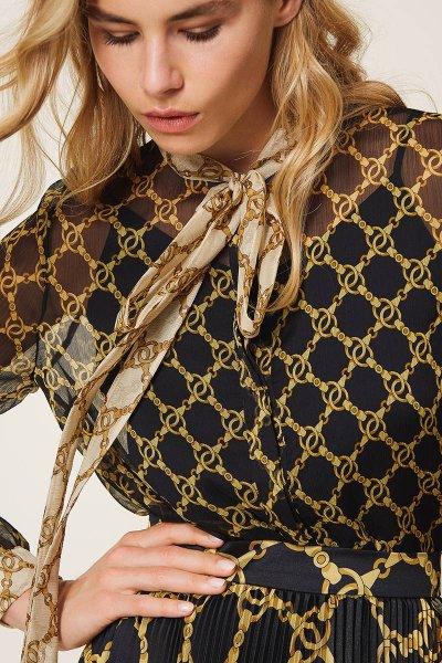 Camisa TWINSET De Crepé Con Estampado De Cadenas 202TT221D