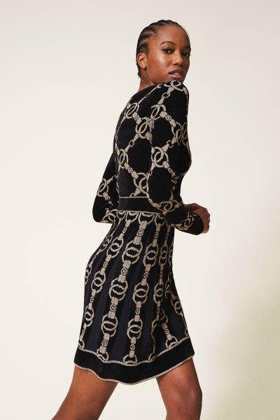 Vestido TWINSET De Punto Con Estampado De Cadenas 202TT3161