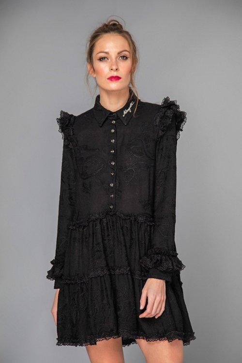 Vestido MANGATA Bordado Negro 2002-310-110