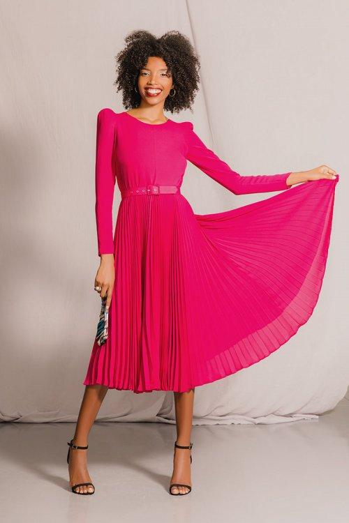 Vestido ARGGIDO Plisado Fucsia 44068