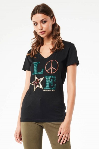 Camiseta DENNY ROSE Love Strass 021ND64032