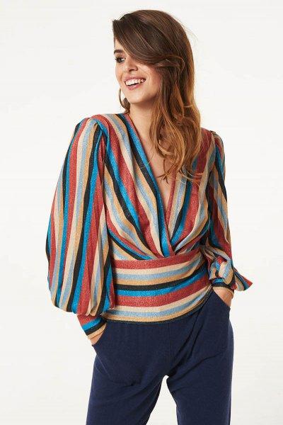 Camiseta DENNY ROSE Multicolor Con Plisado 021DD60005