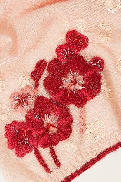 Bufanda TWINSET De Punto Con Flores Y Lentejuelas 202TA4411